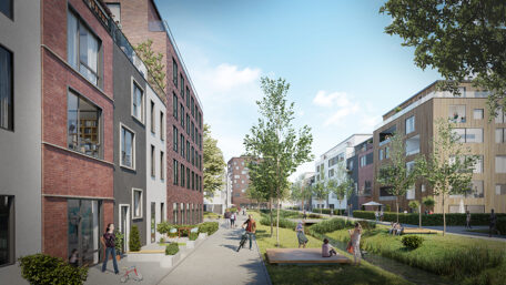 Elbinselquartier (Elbe Island District): Visualisation of residential structures
