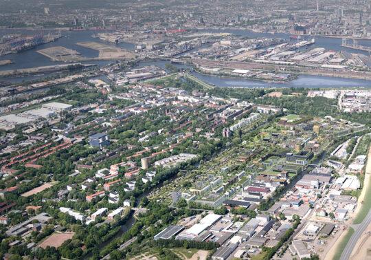 Lufbild Visualisierung Elbinselquartier; IBA Hamburg GmbH / frem 3