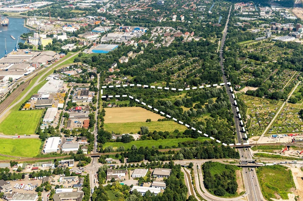 Inselparkquartier (Haulander Weg)_Luftbild mit Projektgebietsgrenze Credits: IBA Hamburg GmbH