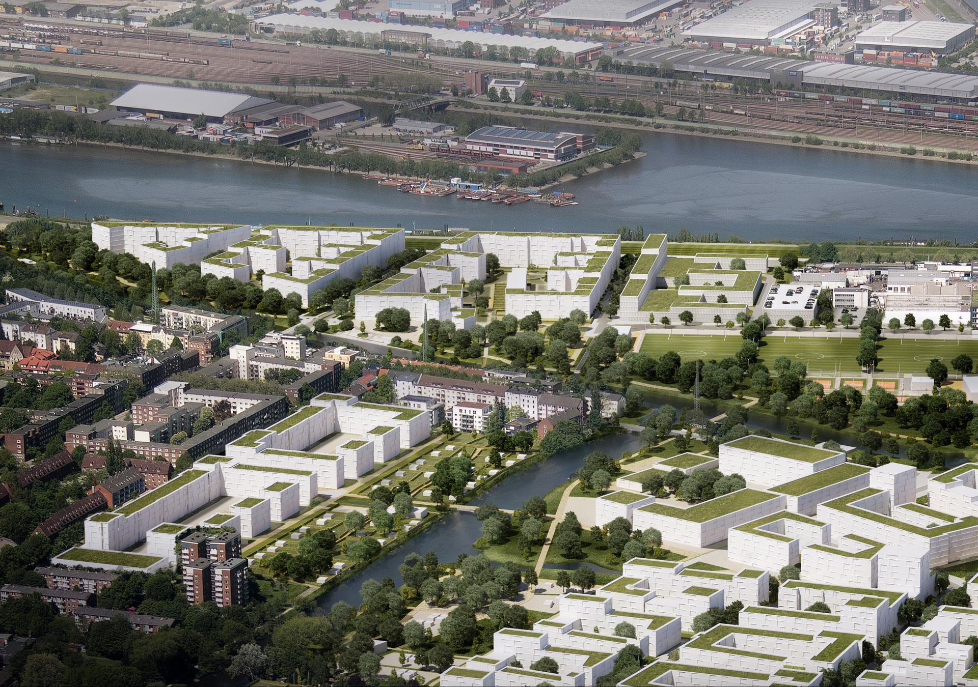 Spreehafen Luftbildvisualisierung; IBA Hamburg / Moka Studios