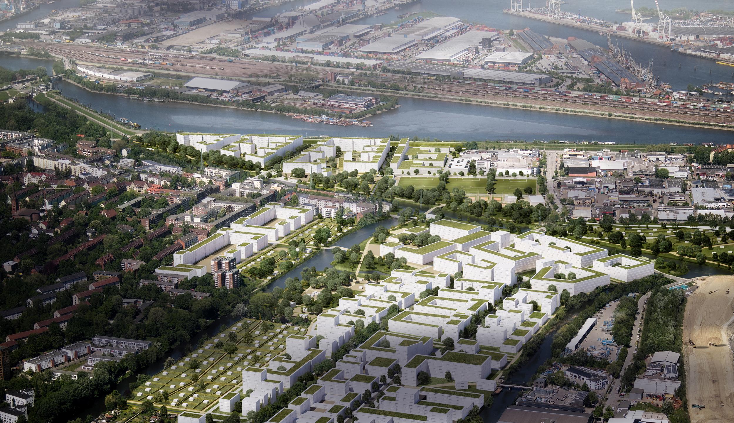 Luftbildvisualisierung Spreehafenviertel und Elbinselquartier