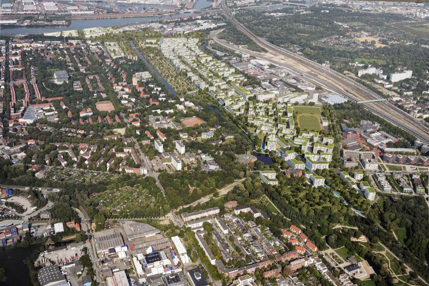 Luftbildvisualisierung Wilhelmsburg (IBA Hamburg / moka studios)