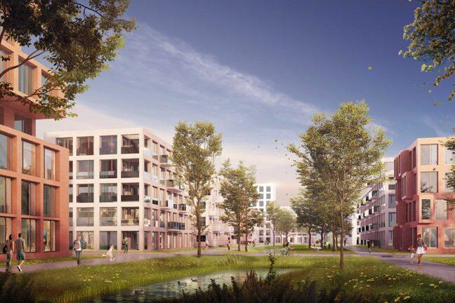 Wilhelmsburger Rathausviertel Visualisierung Perspektive Credits: DeZwarteHond. / RMP Stephan Lenzen Landschaftsarchitekten