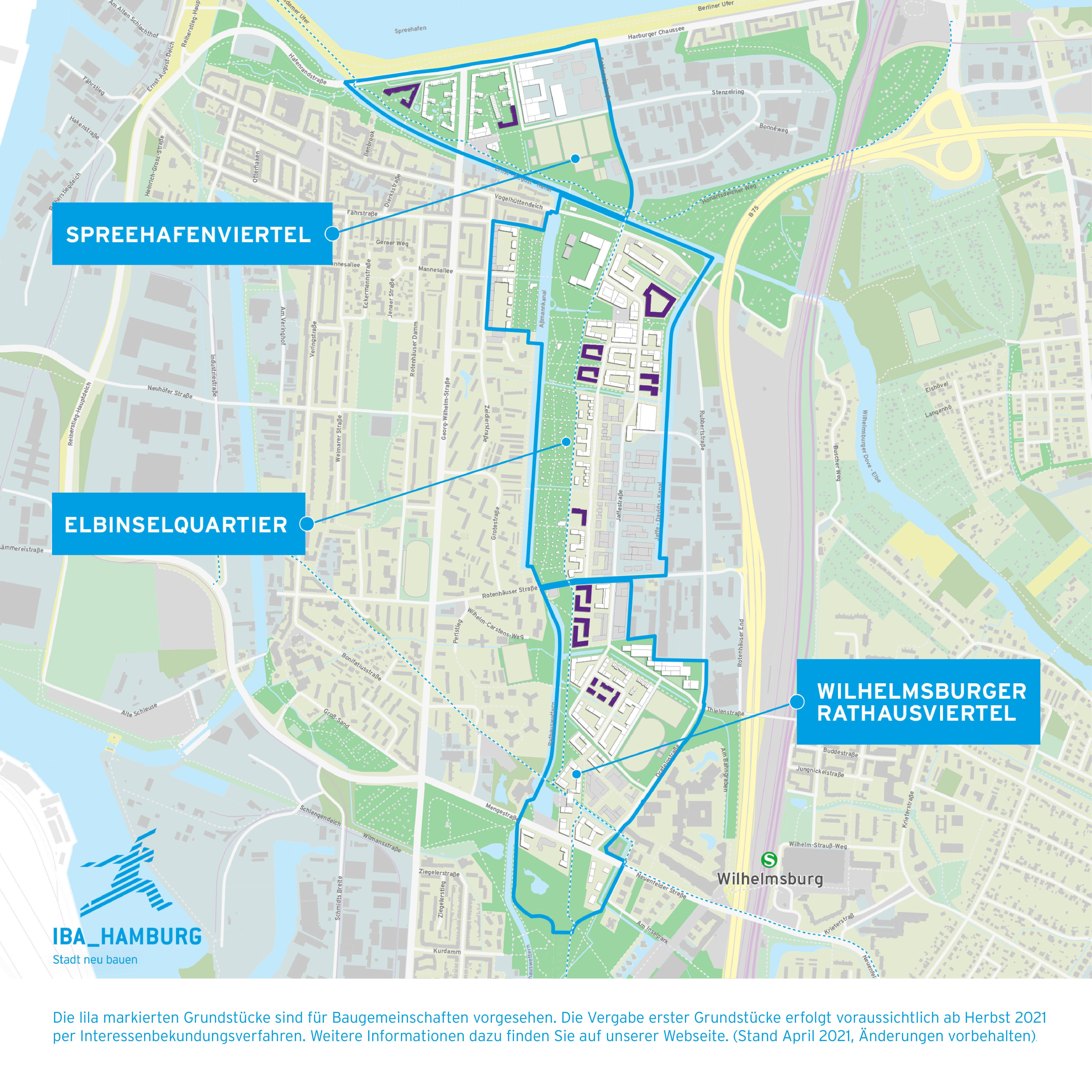Karte Uebersicht Baugemeinschaften Wilhelmsburg IBA Hamburg